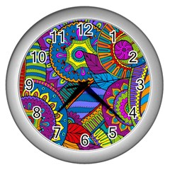 Pop Art Paisley Flowers Ornaments Multicolored Wall Clocks (silver)  by EDDArt