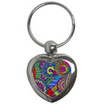 Pop Art Paisley Flowers Ornaments Multicolored Key Chains (Heart)  Front