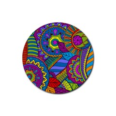 Pop Art Paisley Flowers Ornaments Multicolored Rubber Coaster (round)  by EDDArt