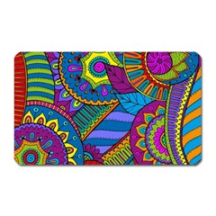 Pop Art Paisley Flowers Ornaments Multicolored Magnet (rectangular) by EDDArt