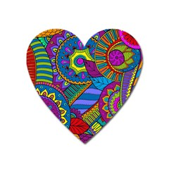 Pop Art Paisley Flowers Ornaments Multicolored Heart Magnet by EDDArt