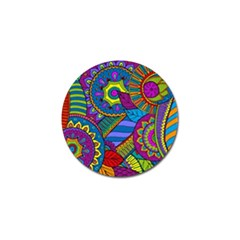 Pop Art Paisley Flowers Ornaments Multicolored Golf Ball Marker (4 Pack) by EDDArt