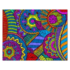 Pop Art Paisley Flowers Ornaments Multicolored Rectangular Jigsaw Puzzl by EDDArt
