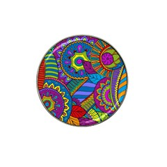 Pop Art Paisley Flowers Ornaments Multicolored Hat Clip Ball Marker (4 Pack) by EDDArt