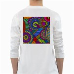 Pop Art Paisley Flowers Ornaments Multicolored White Long Sleeve T-Shirts Back