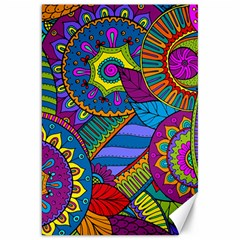Pop Art Paisley Flowers Ornaments Multicolored Canvas 20  X 30   by EDDArt