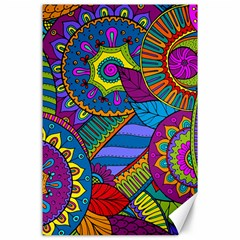 Pop Art Paisley Flowers Ornaments Multicolored Canvas 24  X 36  by EDDArt