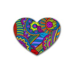 Pop Art Paisley Flowers Ornaments Multicolored Rubber Coaster (heart)  by EDDArt