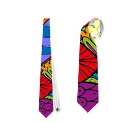 Pop Art Paisley Flowers Ornaments Multicolored Neckties (one Side)  by EDDArt