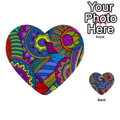 Pop Art Paisley Flowers Ornaments Multicolored Multi Purpose Cards (heart)  by EDDArt