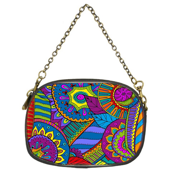 Pop Art Paisley Flowers Ornaments Multicolored Chain Purses (One Side)
