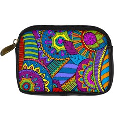 Pop Art Paisley Flowers Ornaments Multicolored Digital Camera Cases by EDDArt