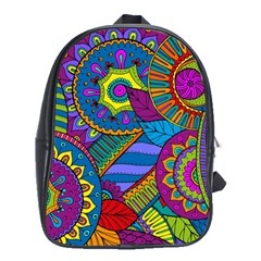 Pop Art Paisley Flowers Ornaments Multicolored School Bags(large)  by EDDArt