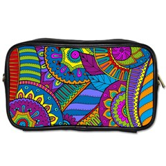 Pop Art Paisley Flowers Ornaments Multicolored Toiletries Bags by EDDArt