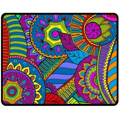 Pop Art Paisley Flowers Ornaments Multicolored Fleece Blanket (medium)  by EDDArt