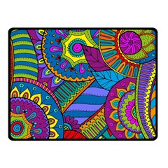 Pop Art Paisley Flowers Ornaments Multicolored Fleece Blanket (small) by EDDArt