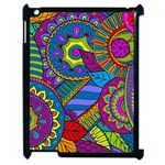 Pop Art Paisley Flowers Ornaments Multicolored Apple iPad 2 Case (Black) Front