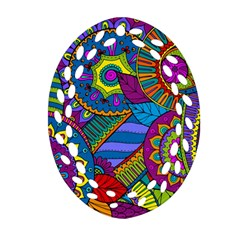 Pop Art Paisley Flowers Ornaments Multicolored Oval Filigree Ornament (2 Side)  by EDDArt