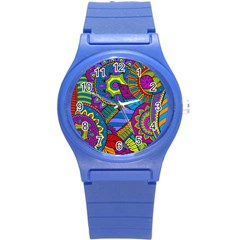 Pop Art Paisley Flowers Ornaments Multicolored Round Plastic Sport Watch (s)