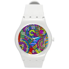 Pop Art Paisley Flowers Ornaments Multicolored Round Plastic Sport Watch (m) by EDDArt