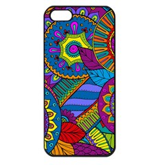 Pop Art Paisley Flowers Ornaments Multicolored Apple Iphone 5 Seamless Case (black) by EDDArt