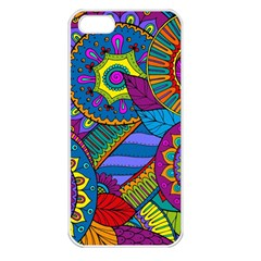 Pop Art Paisley Flowers Ornaments Multicolored Apple Iphone 5 Seamless Case (white) by EDDArt