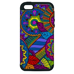 Pop Art Paisley Flowers Ornaments Multicolored Apple Iphone 5 Hardshell Case (pc+silicone) by EDDArt