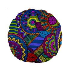 Pop Art Paisley Flowers Ornaments Multicolored Standard 15  Premium Round Cushions