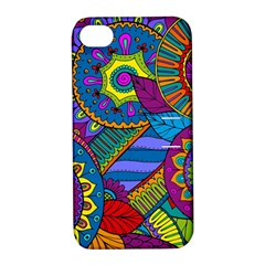 Pop Art Paisley Flowers Ornaments Multicolored Apple Iphone 4/4s Hardshell Case With Stand by EDDArt