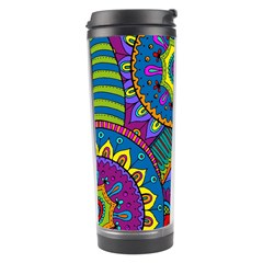 Pop Art Paisley Flowers Ornaments Multicolored Travel Tumbler by EDDArt