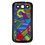 Pop Art Paisley Flowers Ornaments Multicolored Samsung Galaxy S3 Back Case (Black) Front