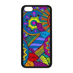 Pop Art Paisley Flowers Ornaments Multicolored Apple Iphone 5c Seamless Case (black) by EDDArt