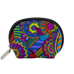 Pop Art Paisley Flowers Ornaments Multicolored Accessory Pouches (small)  by EDDArt