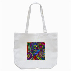 Pop Art Paisley Flowers Ornaments Multicolored Tote Bag (white)