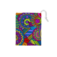 Pop Art Paisley Flowers Ornaments Multicolored Drawstring Pouches (small)  by EDDArt