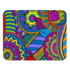 Pop Art Paisley Flowers Ornaments Multicolored Double Sided Flano Blanket (large)  by EDDArt