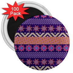 Colorful Winter Pattern 3  Magnets (100 pack)