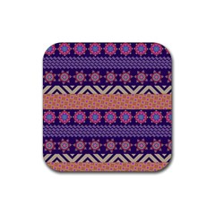 Colorful Winter Pattern Rubber Coaster (square)  by DanaeStudio