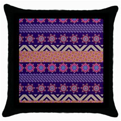 Colorful Winter Pattern Throw Pillow Case (black) by DanaeStudio