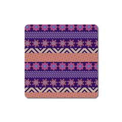 Colorful Winter Pattern Square Magnet by DanaeStudio