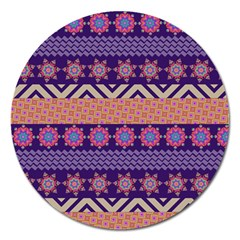 Colorful Winter Pattern Magnet 5  (Round)
