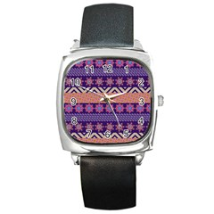 Colorful Winter Pattern Square Metal Watch by DanaeStudio