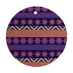 Colorful Winter Pattern Round Ornament (two Sides)  by DanaeStudio