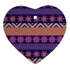 Colorful Winter Pattern Heart Ornament (2 Sides) by DanaeStudio