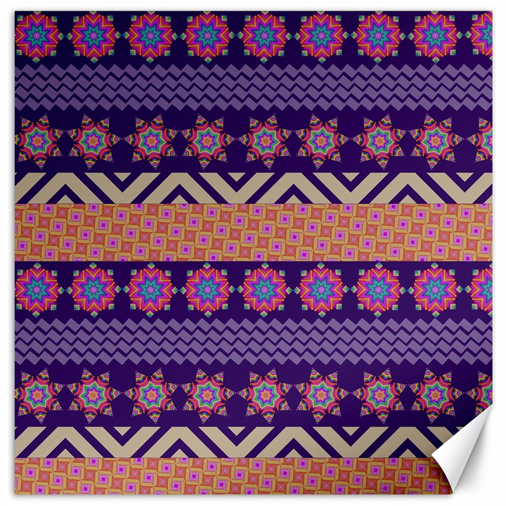 Colorful Winter Pattern Canvas 16  x 16