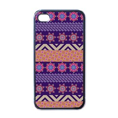 Colorful Winter Pattern Apple Iphone 4 Case (black) by DanaeStudio