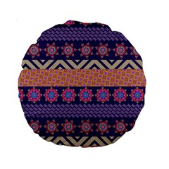Colorful Winter Pattern Standard 15  Premium Round Cushions