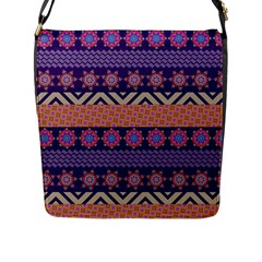 Colorful Winter Pattern Flap Messenger Bag (l)  by DanaeStudio