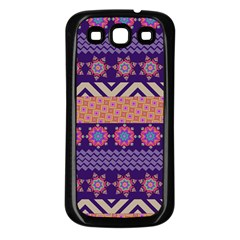 Colorful Winter Pattern Samsung Galaxy S3 Back Case (Black)