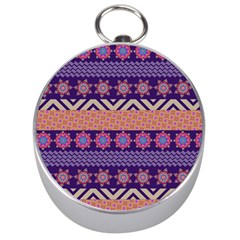 Colorful Winter Pattern Silver Compasses